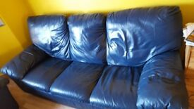 DARK BLUE LEATHER SOFA FOR SALE, GOOD CONDITION