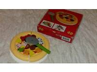 Wooden, pizza toy with cutter