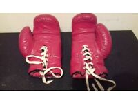 VINTAGE RED LEATHER LACE UP BOXING GLOVES