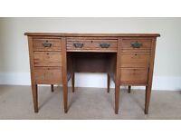 Antique Leather Top Wooden Desk