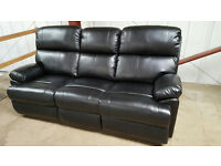 BANKRUPT STOCK REDUCED £375 Brand New Premium Recliner Jacob Faux Leather Three Seat Sofa