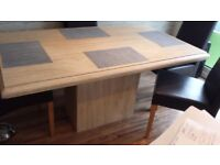 Marble dinning table and 4 leather chairs and matching coffee table