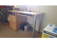 Pine Office Desk - Keyboard Tray, Raised Monitor Area, Good Sized Drawers - Excellent Condition
