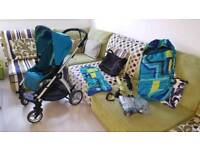 Sola 2 pushchair & all accessories Teal winter footmuff