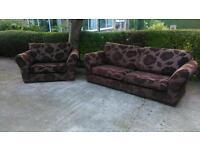 Lovely chocolate 3 seater Sofa & snuggle sofa