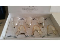 Crystal wine glasses set new never used.