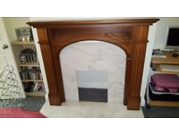 Mable fireplace with solid wood surround