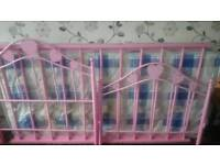 Girls pink bed with mattress