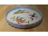 Vintage ROYAL WORCESTER EVESHAM Porcelain Large Flan Dish. Collectible.