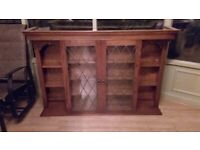 Stunning Old Charm glazed oak bookcase display cabinet wall uni
