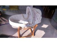 Mothercare Moses basket with antique rocking base.