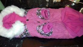 URBAN PUP pink tartan dog coat with detachable fur hood USED ONCE