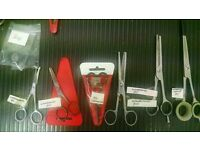 Various dog grooming scissors and clippers