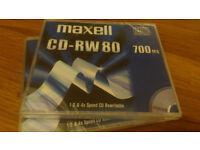 2 brand new Maxell CD-RW 700 MB