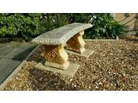 Stone segment curved garden bench feature ornament decorative