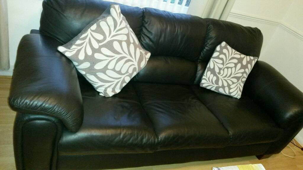 Black leather sofa&chair