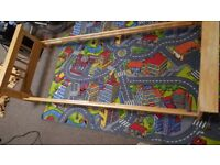 Wooden sleigh single bed frame plus extras
