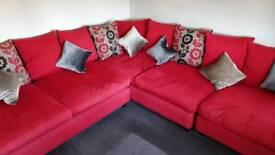 Red corner sofa & pouffe