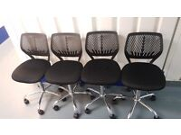 4 x Gas Lift Office Chairs - Black (Price is for all 4 - will sell seperately)