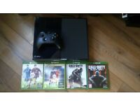 Boxed 500GB Xbox one, leads, controller, headset, 4 games.