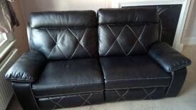 Black Endurance Leather Manual Recliner 3 seater sofa