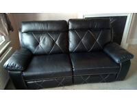 Black Endurance Leather Manual Recliner 3 seater sofa