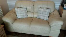 Italian cream Leather 2 seater sofa