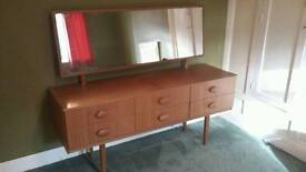 Retro wooden sideboard/dresser with 6 drawers and mirror. Delivery available