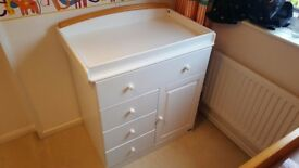 Childrens cot/cotbed and drawers changing table set. white beech 2 piece tutti bambini Barcelona