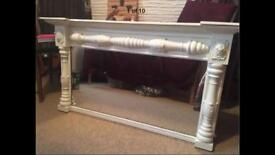 Revived Upcycled Shabby Chic Victorian Pine & Ormolu Mount Mantle Mirror Cream