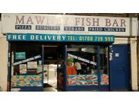 Staff wanted at a kebab fish and chips shop