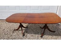 Large Xmas Table Twin Pedestal Antique Extending Leaf Mahogany Dining Room