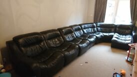 Large 7 seater sofa (DFS ZARA) Black leather