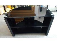 Tv Unit Black Glass / Excellent Condition / Solid Not Cheap Rubbish £25