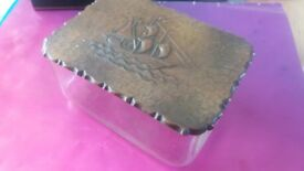 Antique/Vintage Butter Dish with Ship Patterned Copper Lid, glass container, cheese dish
