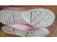 Rose gold pink leather converse size 7