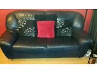 Leather sofa dark blue 3 seater x 2