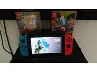 Nintendo Switch, Full and Complete with 3 Games