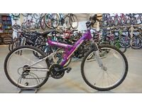 MOUNTAIN RIDGE IMPULSE BIKE 26 INCH WHEELS 18 SPEED FULL SUSPENSION PURPLE/SILVER
