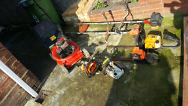 job lot of petrol gardening equipment for spare or repair plus working lawnmower etc
