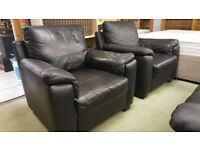 Modern Black Leather 2 Seat Sofa & 2 Arm Chairs