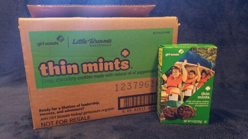 Box of Girl Scout Cookies of Thin Mints--9oz. boxes Fresh! Free Shipping!