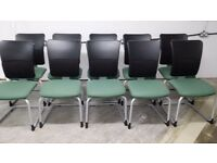 STEELSTEELCASE STRAFOR RECEPTION MEETING CHAIR WITH HIGH BACK - 10 GREEN AVAILABLE