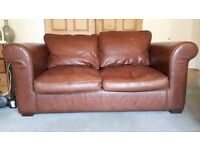 Laura Ashley large two seater chestnut brown leather Burgess sofa