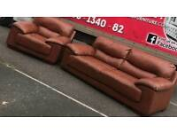 3 and 1 seater sofa in brown leather