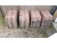 Red used roof tiles