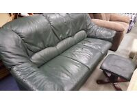 Three Seater Green Leather sofa plus Footstool in Great Condition