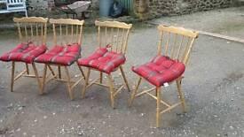 Four lovely stick light oak kitchen chairs