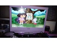 "Pink 21.6"" TV dvd combi like new and other stuff in description"