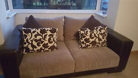 Leather and material 3 and 2 seater settees
